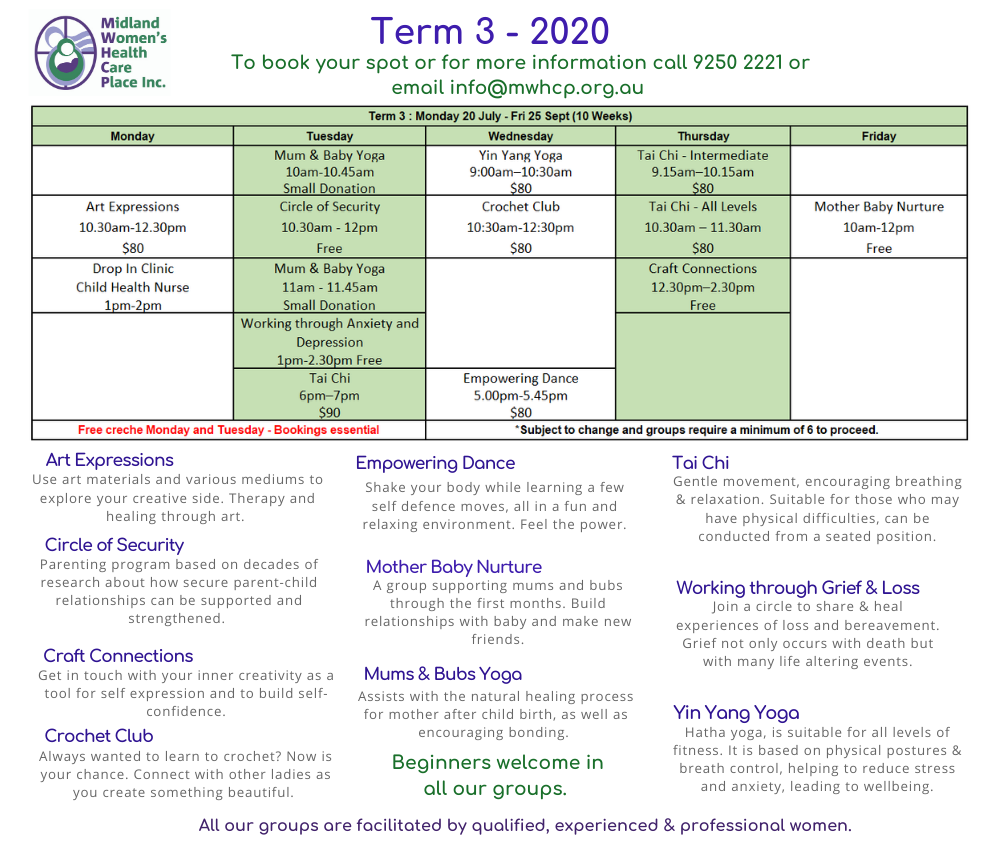 Term 3 Timetable 2020